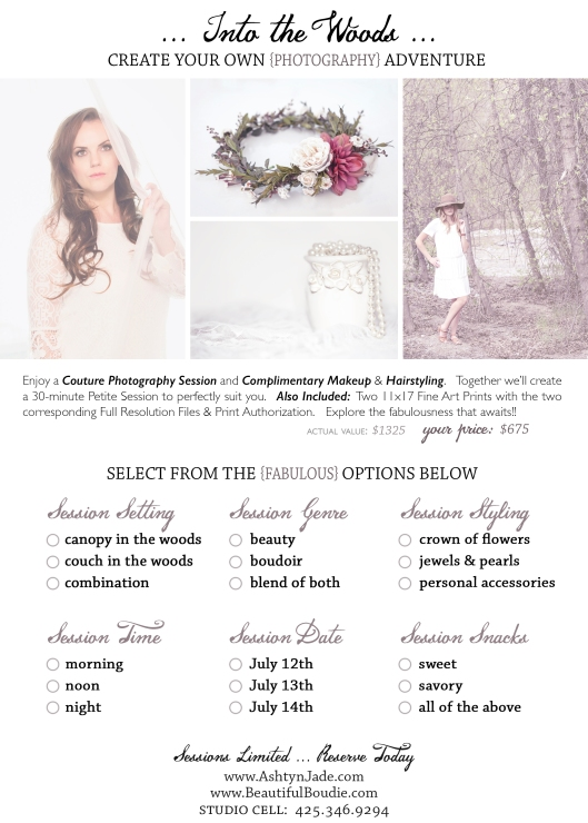 Beautiful Boudie-Ashtyn Jade Photography-Into the Woods Promotion-Create Your Own Adventure